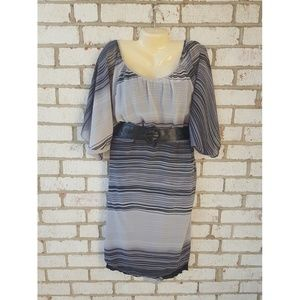 Plus Size Black and White Stripped Dress